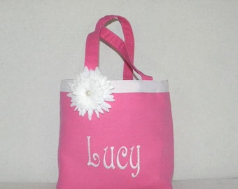 Callie Size Hot Pink Monogrammed / Personalize Tote, Purse, Handbag, Flower Girl, Small, Brownie, Birthday Girl