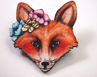 Floral Spring Fox Laser Cut Wood Brooch