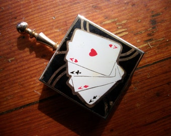 Viintage Deco Playing Card Compact / Pocket Ashtray