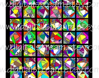 Mini Quilt No.2 Crazy Quilt Digital Collage Sheet Miniature Dollhouse Quilt jpg to Download  and Print 7x8 Inches