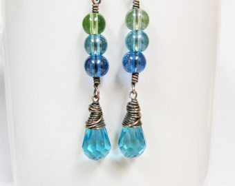 Shades of  Blue Glass Earrings