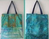 Zebra tote bag, medium handbag palm trees cotton batik beaded Bohemian Bag teal blue green indie hipster wearable art purse Lhasa i824