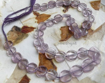 37 amethyst coin beads, 12-inch strand gemstone 7-8mm round flat disk transparent purple semiprecious gem stone i10 Life's an Expedition