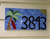Mosaic address sign with 4 numbers