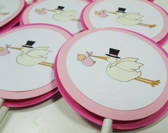 Pink Stork Cupcake Toppers
