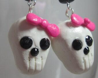 Retro Is Not Dead Hot Pink Skull Dangle Earrings