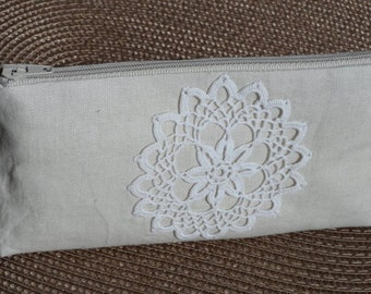 Zipper pouch cosmetic bag small clutch natural linen with beautiful handmade vintage lace