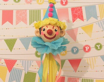 Blue, Yellow, Pink Clown Cake Topper/Decoration