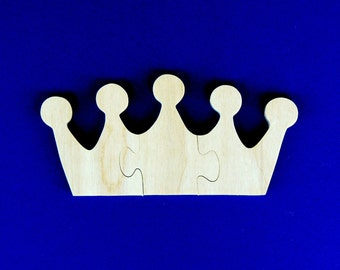 Princess Party Favors - Childrens Wood Puzzles - Set of 10 Crown Shaped Puzzles - Great for Kids and Toddler Partys