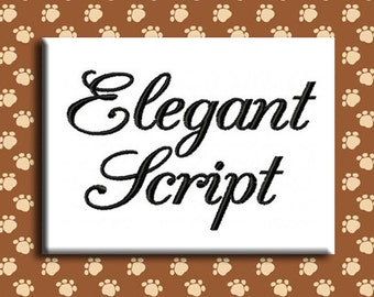 Elegant Script Embroidery Font Includes 4 Sizes