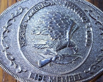North American Hunting Club Life Member Vintage Brass Belt Buckle Made in the USA