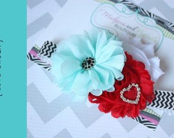 Baby Headband, { Love Struck } black, red aqua, red, white, Valentine's Day, First Birthday, Cake smash, Heart Love baby photography prop