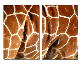 African Giraffe Print Canvas Diptych, 2 Panel Art, LARGE, Ready to Hang