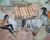 Vintage FRENCH Scene Handkerchief