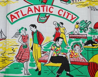 Vintage Atlantic City Souvenir Kitchen Towel
