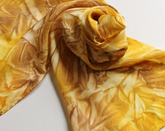 Hand Painted Silk Scarf - Handpainted Scarves Sunflower Yellow Gold Brown Sunflowers Autumn Fall