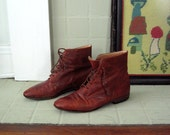 Vintage Brown Leather Ankle Boots Booties size 6.5 / 7
