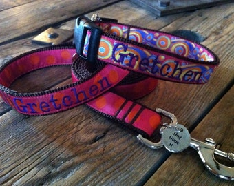 Med or large Collar Any Pattern, Name color, and Size. Personalized Dog Collar. Personalized Dog Lead. Personalized Dog Leash. Dog Gone It.