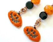 Halloween Earrings Pumpkins - Jack O Lantern Dangles - Orange and Black Beads - Enamel Copper Charms - RoughMagicHolidays