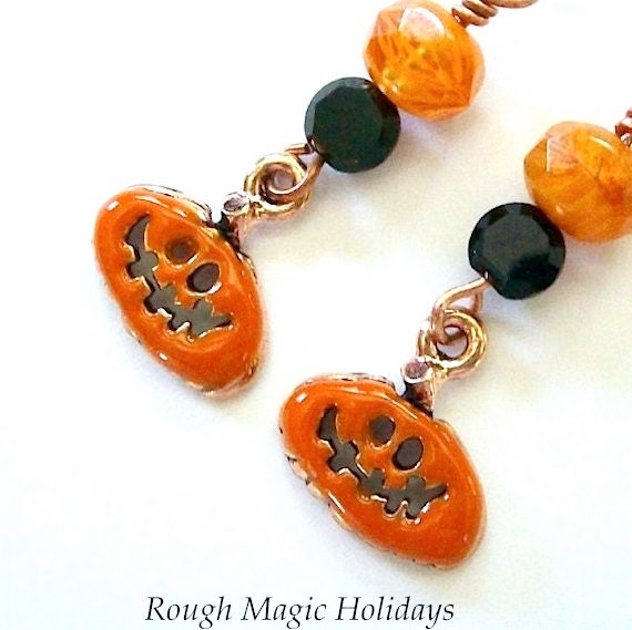 Halloween Earrings Pumpkins - Jack O Lantern Dangles - Orange and Black Beads - Enamel Copper Charms