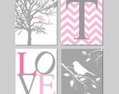 Baby Girl Nursery Art Quad - Birds in a Tree, Chevron Initial, Love, Bird on a Branch - Set of Four 8x10 Prints - CHOOSE YOUR COLORS