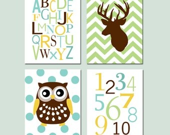 Baby Boy Nursery Decor Art - Alphabet, Numbers, Chevron Deer Head Silhouette, Polka Dot Owl - Set of Four Prints - CHOOSE YOUR COLORS