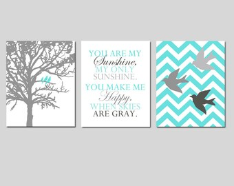 Bird Family Trio - Set of Three 8x10 Nursery Art Prints - Chevron Birds, You Are My Sunshine, Three Birds in a Tree - CHOOSE YOUR COLORS