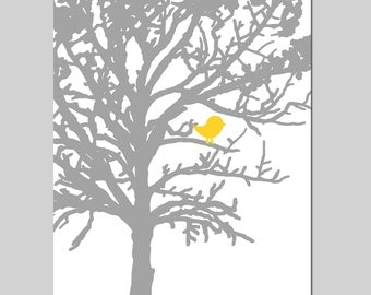 Baby Bird in a Tree Nursery Art - 8x10 Print - CHOOSE YOUR COLORS - Shown in Gray, Yellow, Light PInk and More