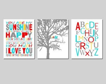 You Are My Sunshine Nursery Art Trio - Birds in a Tree, Modern Alphabet - Set of Three 11x14 Prints - CHOOSE YOUR COLORS