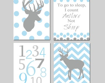 Baby Boy Nursery Art - Polka Dot Chevron Deer - To Go To Sleep I Count Antlers Not Sheep Quote - Numbers - Set of Four 8x10 Prints