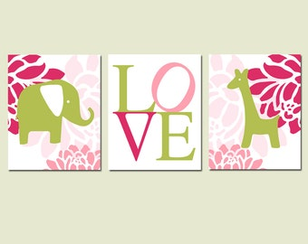 Baby Girl Nursery Art - Floral Elephant Giraffe Love Trio - Set of Three 11x14 Prints - CHOOSE YOUR COLORS