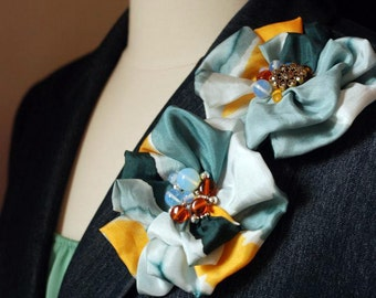 Hand Painted Silk-Floral Brooch (Pin). Gray & Orange Silk Flowers with Embellishments. Different Styles. Cute Gift for Mom.