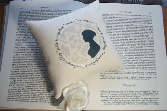 Jane Austen-Miss Austen's Novels- 6 x 6 Silhouette Mini Pillow-Blue Damask