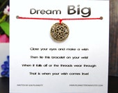 Dream Big - Golden Dreamcatcher Charm - Wish Bracelet - Shown In FIRE - Over 100 Different Colors Are Also Available