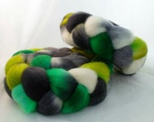 Roving for spinning, Romney top 4 oz., emerald green, chartreuse, gray, black, white, colorway: Wicked