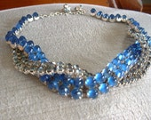 Stunning Vintage Blue Glass Necklace / Choker with Twist, Two Tone with Rhinestones and Smooth Cabochons