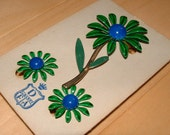 Vintage DuBarry First Avenue Enameled Flower Demi Parure of Brooch and Earrings on Original Card!  Blue and Green Daisies