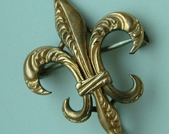 Antique Victorian Gold WatchPin, Fleur-de-Lis