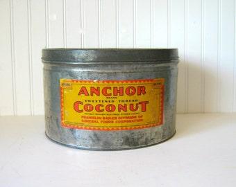Antique Advertising Tin Anchor Brand Coconut 1920's Rustic Galvanized Tin