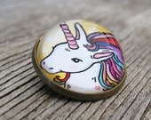 Magical Unicorn Glass Brooch - Round bronze brooch with lucky horse