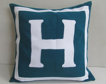 teal blue and white monogrammed pillow covers 18 inch - Custom made - choose your colors