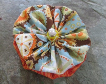 Original Double Yoyo Barrette or Scrunchie in Orange, Blue, Brown