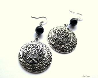 Decorative Silver Earrings, Black Earrings, Modern Earrings, Round Earrings, Gift Ideas, Top Selling Earrings, Best Selling Jewelry, Perfect