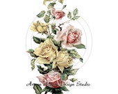Beautiful Vintage Chic Shabby Pink and Yellow Roses Spray Waterslide Water Slide Iron On Transfer Miniature Decals ro-166