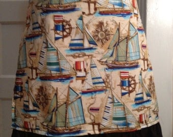SAILING AWAY nautical themed half apron with sailboats and flags with dark chocolate brown ruffle and ties