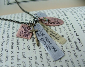Serenity Prayer Mixed Metals Custom Hand Stamped Necklace with Brass Cross And Swarovski Crystal by MyBella