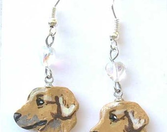Hand-painted GOLDEN RETRIEVER Artist Hand-Sculpted Clay Earrings NICE