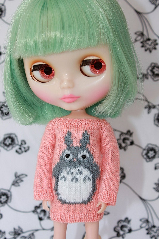 Neo BLYTHE Dear TOTORO Sweater Tunic Coral-Grey Limited