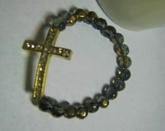 Basketball Wives Inspired Black and Gold  Crystal Strech Bracelet BBW