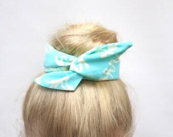 Flexible Fabric Bun Wrap, Aqua People Cutouts Fabric, Wire Hair Accessory for Buns or Pony Tails, Teen-Girl-Woman